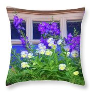 Window Box With Pansies Throw Pillow