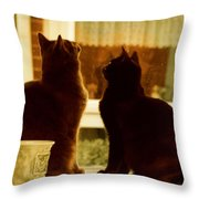 Window Cats Throw Pillow