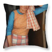 Window Cleaner Throw Pillow by James W Johnson