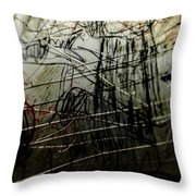 Window Drawing 02 Throw Pillow by Grebo Gray