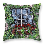 Window Flower Box Throw Pillow