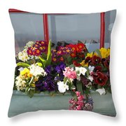 Window Flowers Throw Pillow