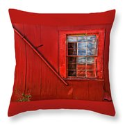 Window In Red Throw Pillow