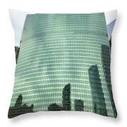 Window Reflections In The Windy City Throw Pillow
