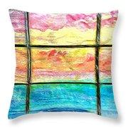 Window Scene Abstract Throw Pillow