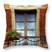 Window Shutters And Flowers I Throw Pillow