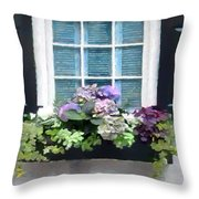 Window Shutters And Flowers Vi Throw Pillow
