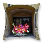 Window Sill Flower Arrangement At Cesky Krumlov Castle In The Czech Republic Throw Pillow