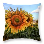 Window To The Sunflower Fields Oil Painting Throw Pillow