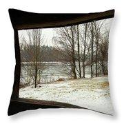 Window To Winter Throw Pillow