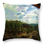 Window View From Inside Gila Cliff Dwellings Throw Pillow