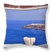 Window View To The Mediterranean Throw Pillow