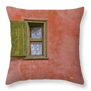 Window With A Lace Curtain Throw Pillow