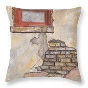 Window With Crumbling Plaster Throw Pillow