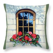 Window With Flower Box Throw Pillow