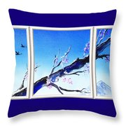 Window With The Mountain View Throw Pillow