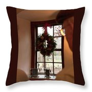 Window Wreath Throw Pillow
