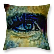 Windows Into The Soul Eye Painting Closeup All Seeing Eye In Blue Pink Red Magenta Yellow Eye Of Go Throw Pillow