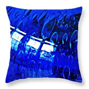 Windows Reflected On A Blue Bowl 3 Throw Pillow