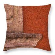 Windowsill And Orange Wall San Miguel De Allende Throw Pillow
