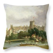 Windsor Castle - From The Thames Throw Pillow