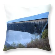 Windsor Cornish Covered Bridge Fog Throw Pillow