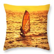 Windsurfer At Sunset Throw Pillow