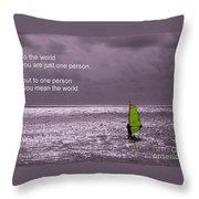 Windsurfer Under A Gloomy Sky Throw Pillow