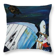 Windsurfing And Sea Turtle Throw Pillow