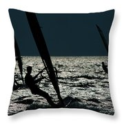 Windsurfing At Cape Hatteras National Throw Pillow
