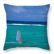 Windsurfing In Clear Ocea Throw Pillow