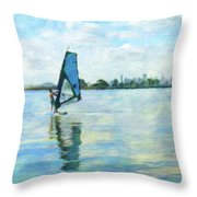 Windsurfing In The Bay Throw Pillow