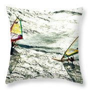 Windsurfing Silver Waters Throw Pillow