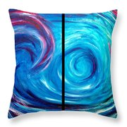 Windswept Blue Wave And Whirlpool 2 Throw Pillow