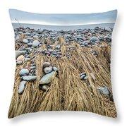 Windswept Grass At Lawrencetown Beach, Nova Scotia Throw Pillow