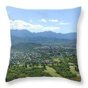 Windward Oahu Panorama I Throw Pillow