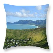 Windward Oahu Panorama IIi Throw Pillow by David Cornwell/First Light Pictures, Inc - Printscapes