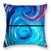 Windwept Blue Wave And Whirlpool Diptych 1 Throw Pillow