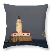 Windy And The Chicago Harbor Light - D009820 Throw Pillow