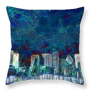 Windy Chicago Illinois Skyline Party Nights 20180516 Throw Pillow