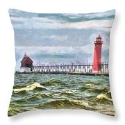 Windy Day At Grand Haven Lighthouse Throw Pillow