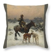 Windy Day By Alfred Wierusz-kowalski Throw Pillow