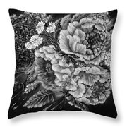 Windy Flowers Black And White Throw Pillow