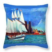 Windy In Chicago Throw Pillow