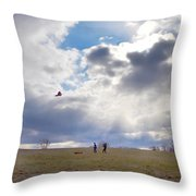Windy Kite Day Throw Pillow by Bill Cannon