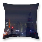 Windy Night Lights Abstract Throw Pillow