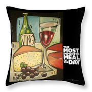 Wine And Cheese Imported Meal Throw Pillow