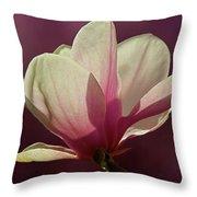 Wine And Cream Magnolia Blossom Throw Pillow