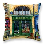 Wine And Flowers Throw Pillow by Marilyn Dunlap