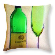 Wine And Glass 2 Throw Pillow